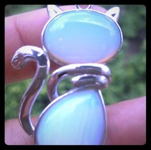 Silver Gemstone Opalite Cat Necklace